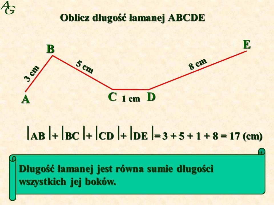 A B CD E 3 cm 5 cm 1 cm 8 cm Oblicz długość łamanej ABCDE AB+BC+CD+DE= 3 + 5 + 1 + 8 = 17 (cm) Długość łamanej jest równa sumie długości wszystkich jej boków.