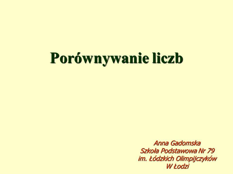 Porównywanie liczb Anna Gadomska Szkoła Podstawowa Nr 79 im. Łódzkich Olimpijczyków W Łodzi