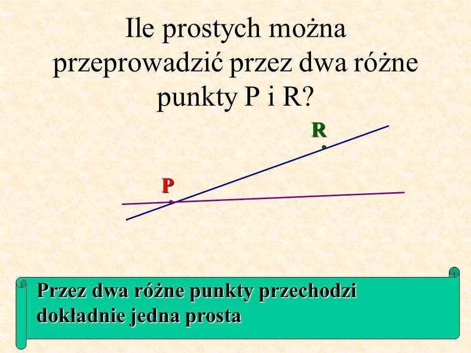 Ile prostych można przeprowadzić przez dwa różne punkty P i R.