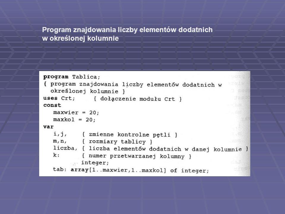 Program znajdowania liczby elementów dodatnich w określonej kolumnie