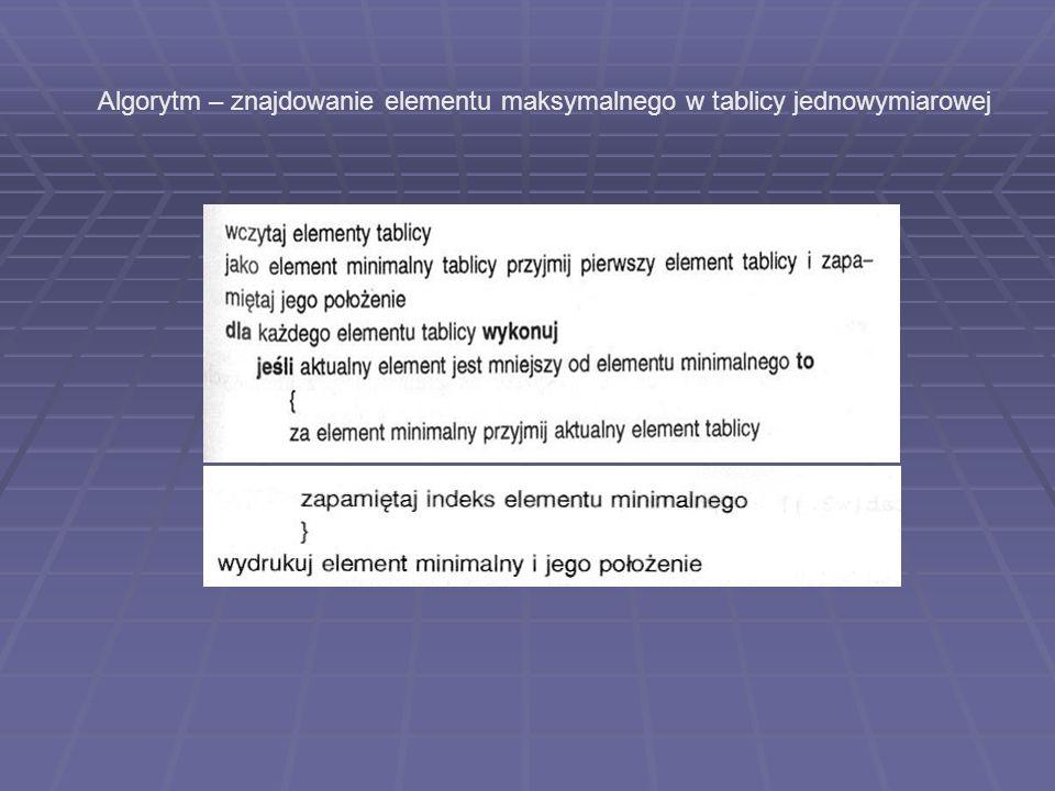 Algorytm – znajdowanie elementu maksymalnego w tablicy jednowymiarowej