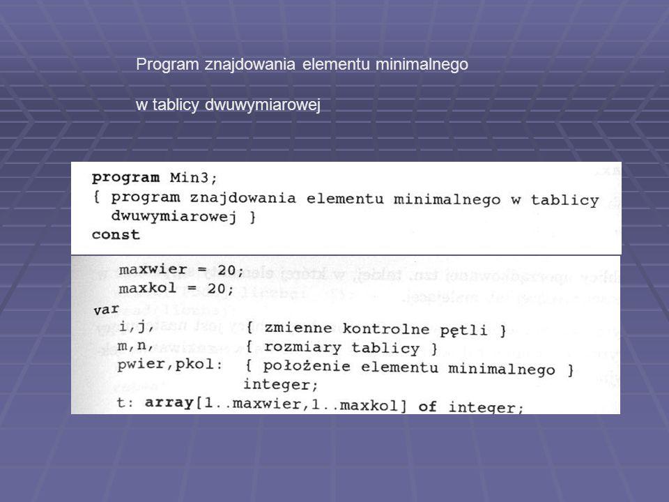 Program znajdowania elementu minimalnego w tablicy dwuwymiarowej