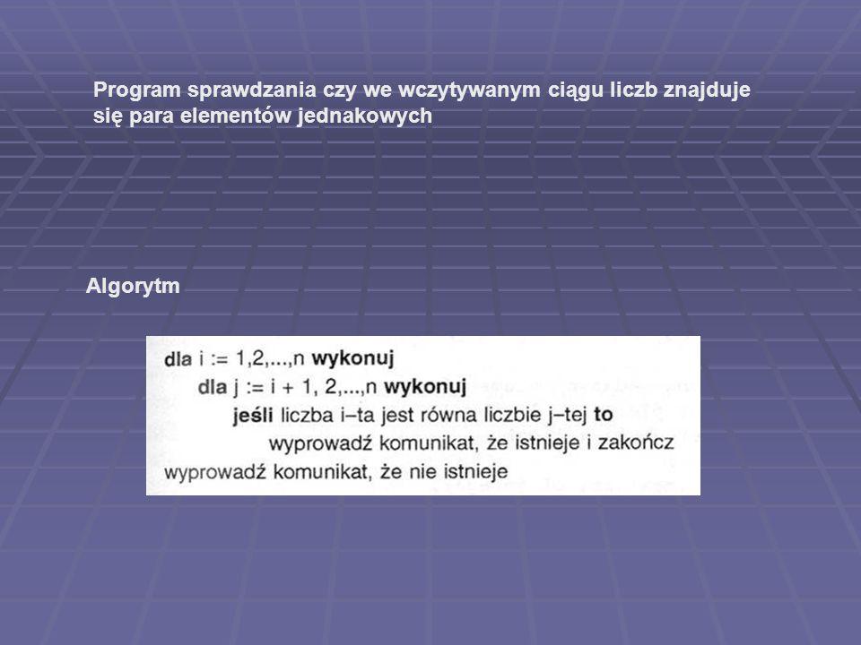 Algorytm Program sprawdzania czy we wczytywanym ciągu liczb znajduje się para elementów jednakowych