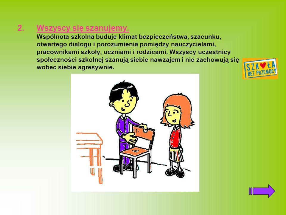 2.Wszyscy się szanujemy. Wspólnota szkolna buduje klimat bezpieczeństwa, szacunku, otwartego dialogu i porozumienia pomiędzy nauczycielami, pracownika