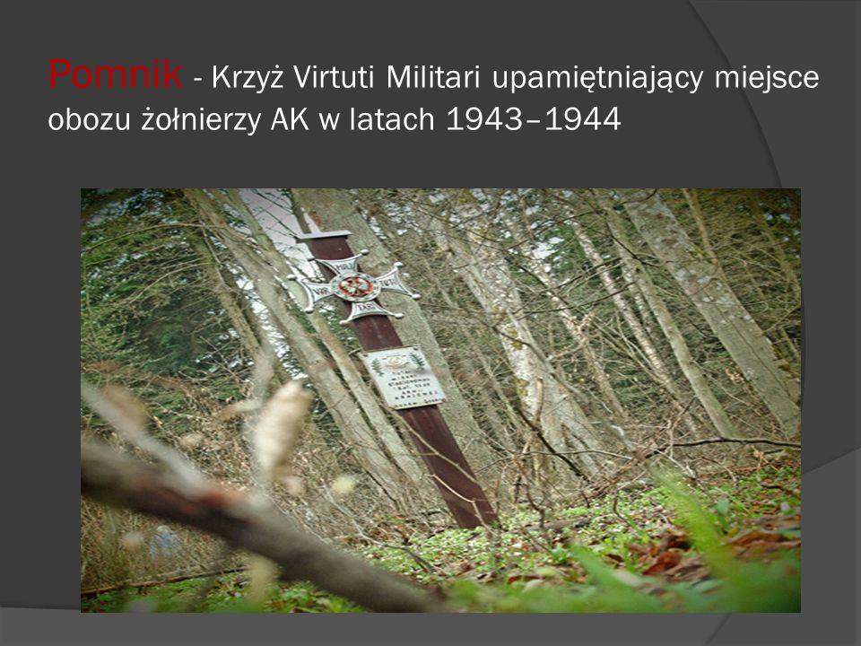 Pomnik - Krzyż Virtuti Militari upamiętniający miejsce obozu żołnierzy AK w latach 1943–1944