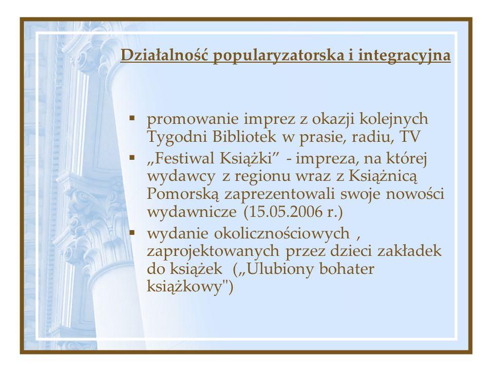Działalność popularyzatorska i integracyjna promowanie imprez z okazji kolejnych Tygodni Bibliotek w prasie, radiu, TV Festiwal Książki - impreza, na