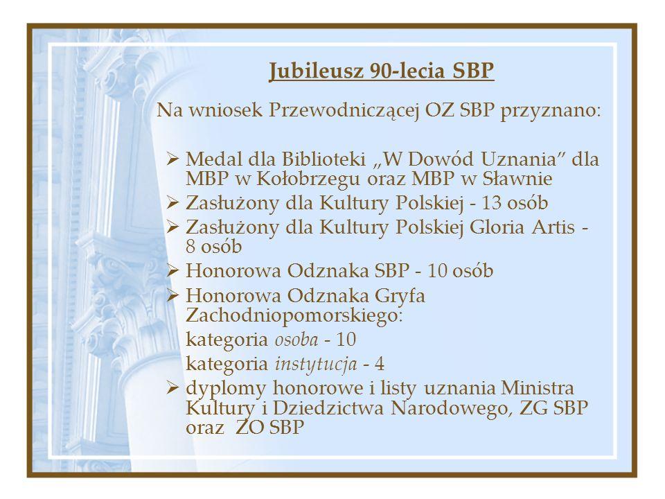 Jubileusz 90-lecia SBP Na wniosek Przewodniczącej OZ SBP przyznano: Medal dla Biblioteki W Dowód Uznania dla MBP w Kołobrzegu oraz MBP w Sławnie Zasłużony dla Kultury Polskiej - 13 osób Zasłużony dla Kultury Polskiej Gloria Artis - 8 osób Honorowa Odznaka SBP - 10 osób Honorowa Odznaka Gryfa Zachodniopomorskiego: kategoria osoba - 10 kategoria instytucja - 4 dyplomy honorowe i listy uznania Ministra Kultury i Dziedzictwa Narodowego, ZG SBP oraz ZO SBP