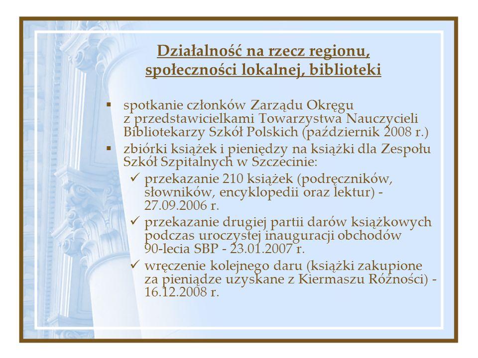 spotkanie członków Zarządu Okręgu z przedstawicielkami Towarzystwa Nauczycieli Bibliotekarzy Szkół Polskich (październik 2008 r.) zbiórki książek i pi