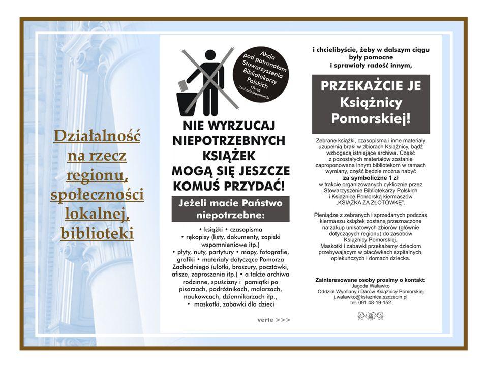 Działalność na rzecz regionu, społeczności lokalnej, biblioteki
