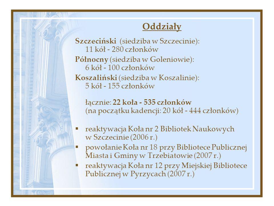 Oddziały Szczeciński (siedziba w Szczecinie): 11 kół - 280 członków Północny (siedziba w Goleniowie): 6 kół - 100 członków Koszaliński (siedziba w Koszalinie): 5 kół - 155 członków łącznie: 22 koła - 535 członków (na początku kadencji: 20 kół - 444 członków) reaktywacja Koła nr 2 Bibliotek Naukowych w Szczecinie (2006 r.) powołanie Koła nr 18 przy Bibliotece Publicznej Miasta i Gminy w Trzebiatowie (2007 r.) reaktywacja Koła nr 12 przy Miejskiej Bibliotece Publicznej w Pyrzycach (2007 r.)