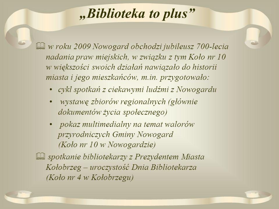 Biblioteka to plus w roku 2009 Nowogard obchodzi jubileusz 700-lecia nadania praw miejskich, w związku z tym Koło nr 10 w większości swoich działań nawiązało do historii miasta i jego mieszkańców, m.in.