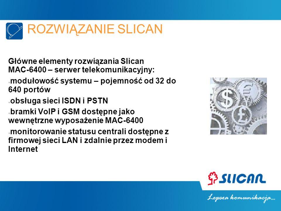 Główne elementy rozwiązania Slican MAC-6400 – serwer telekomunikacyjny: modułowość systemu – pojemność od 32 do 640 portów obsługa sieci ISDN i PSTN b