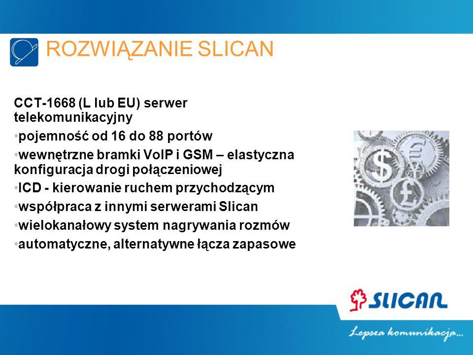 ROZWIĄZANIE SLICAN CCT-1668 (L lub EU) serwer telekomunikacyjny pojemność od 16 do 88 portów wewnętrzne bramki VoIP i GSM – elastyczna konfiguracja drogi połączeniowej ICD - kierowanie ruchem przychodzącym współpraca z innymi serwerami Slican wielokanałowy system nagrywania rozmów automatyczne, alternatywne łącza zapasowe