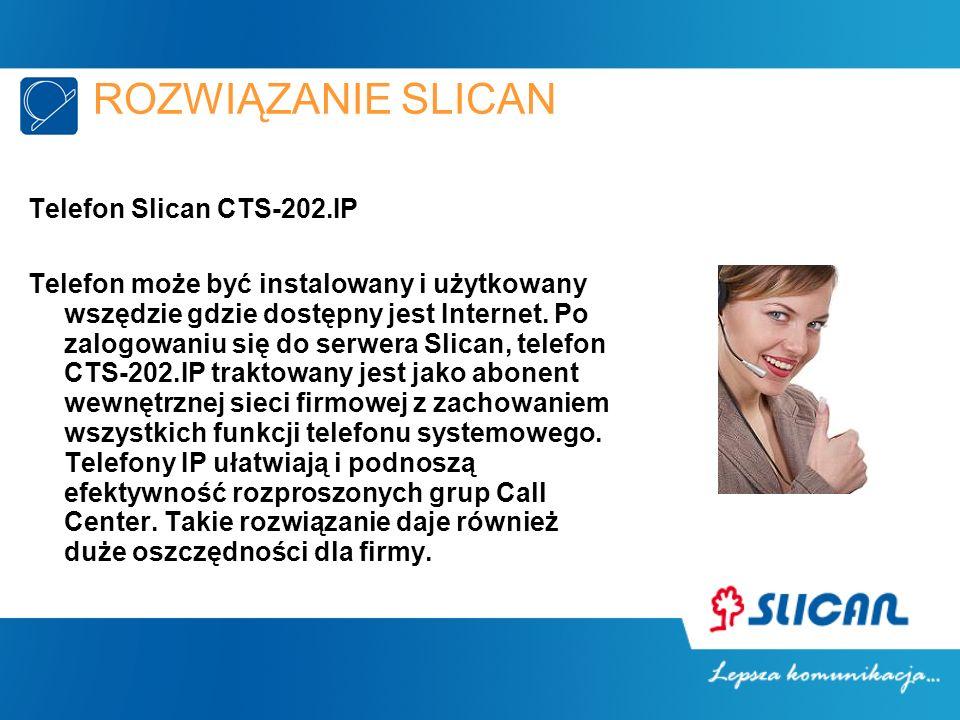 ROZWIĄZANIE SLICAN Telefon Slican CTS-202.IP Telefon może być instalowany i użytkowany wszędzie gdzie dostępny jest Internet. Po zalogowaniu się do se
