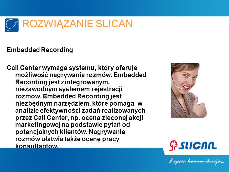 ROZWIĄZANIE SLICAN Embedded Recording Call Center wymaga systemu, który oferuje możliwość nagrywania rozmów. Embedded Recording jest zintegrowanym, ni