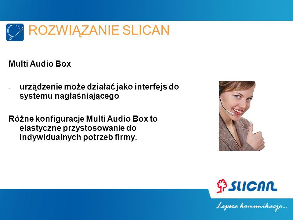 ROZWIĄZANIE SLICAN Multi Audio Box urządzenie może działać jako interfejs do systemu nagłaśniającego Różne konfiguracje Multi Audio Box to elastyczne przystosowanie do indywidualnych potrzeb firmy.