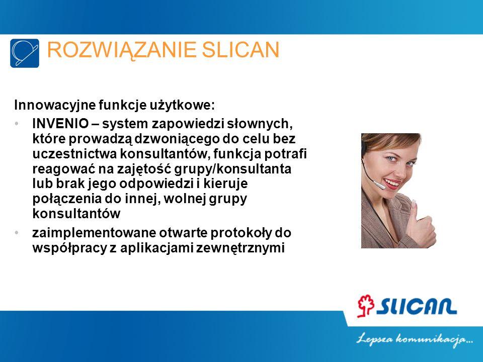 ROZWIĄZANIE SLICAN Innowacyjne funkcje użytkowe: INVENIO – system zapowiedzi słownych, które prowadzą dzwoniącego do celu bez uczestnictwa konsultantó