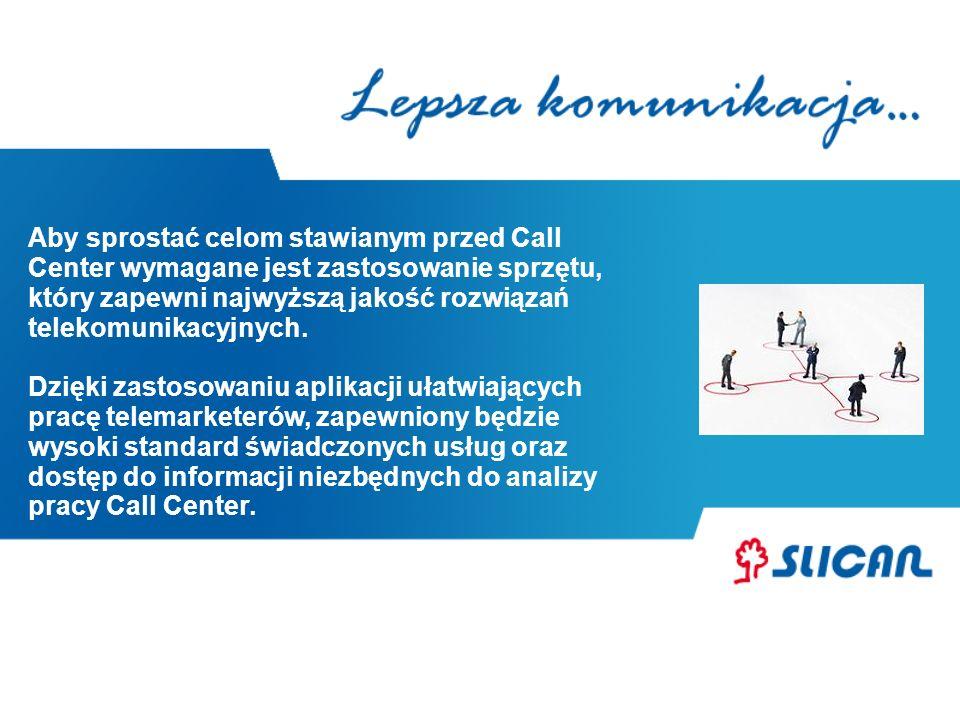 KORZYŚCI DLA CALL CENTER oszczędności przynosi również rozwiązanie LCR – rozbudowany i elastyczny mechanizm wyboru najtańszej drogi połączeniowej w przypadku rozwoju działu Call Center w innych miastach system można łatwo rozbudować otwarte protokoły umożliwiają współpracę z aplikacjami zewnętrznymi dzięki programowi BillingMAN, który firma otrzymuje w cenie centrali, możliwa jest szybka analiza pracy Call Center