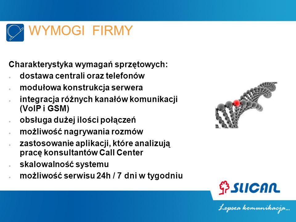 WYMOGI FIRMY Charakterystyka wymagań sprzętowych: dostawa centrali oraz telefonów modułowa konstrukcja serwera integracja różnych kanałów komunikacji (VoIP i GSM) obsługa dużej ilości połączeń możliwość nagrywania rozmów zastosowanie aplikacji, które analizują pracę konsultantów Call Center skalowalność systemu możliwość serwisu 24h / 7 dni w tygodniu