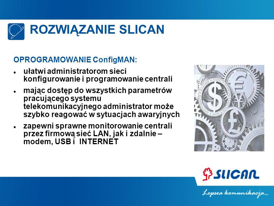 ROZWIĄZANIE SLICAN OPROGRAMOWANIE ConfigMAN: ułatwi administratorom sieci konfigurowanie i programowanie centrali mając dostęp do wszystkich parametró