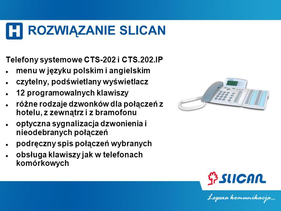 ROZWIĄZANIE SLICAN Telefony systemowe CTS-202 i CTS.202.IP menu w języku polskim i angielskim czytelny, podświetlany wyświetlacz 12 programowalnych kl