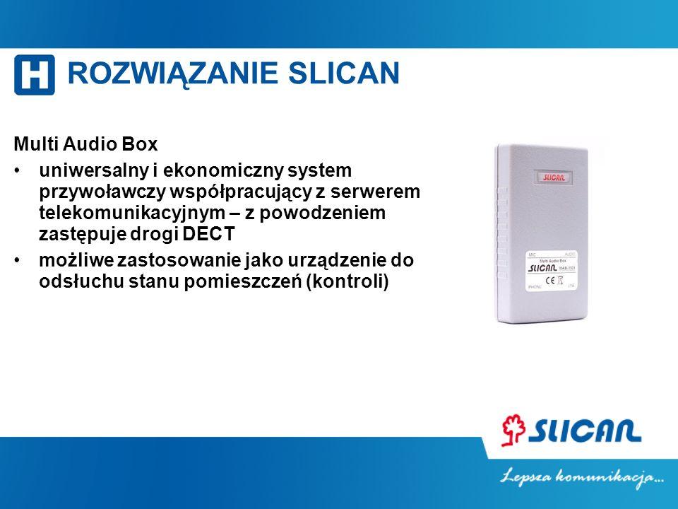ROZWIĄZANIE SLICAN Multi Audio Box uniwersalny i ekonomiczny system przywoławczy współpracujący z serwerem telekomunikacyjnym – z powodzeniem zastępuje drogi DECT możliwe zastosowanie jako urządzenie do odsłuchu stanu pomieszczeń (kontroli)