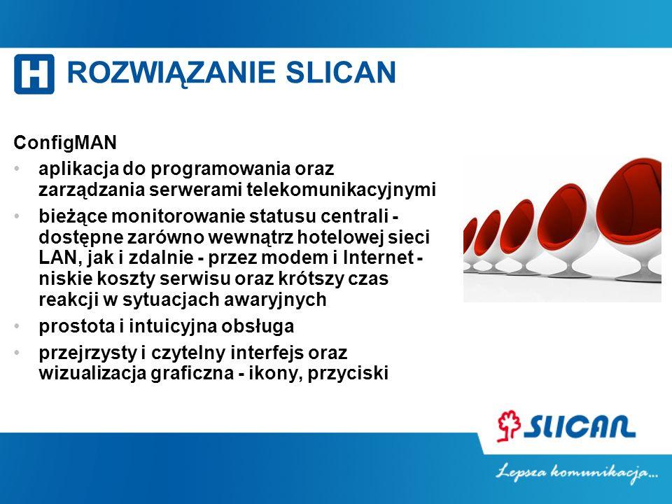 ROZWIĄZANIE SLICAN ConfigMAN aplikacja do programowania oraz zarządzania serwerami telekomunikacyjnymi bieżące monitorowanie statusu centrali - dostęp