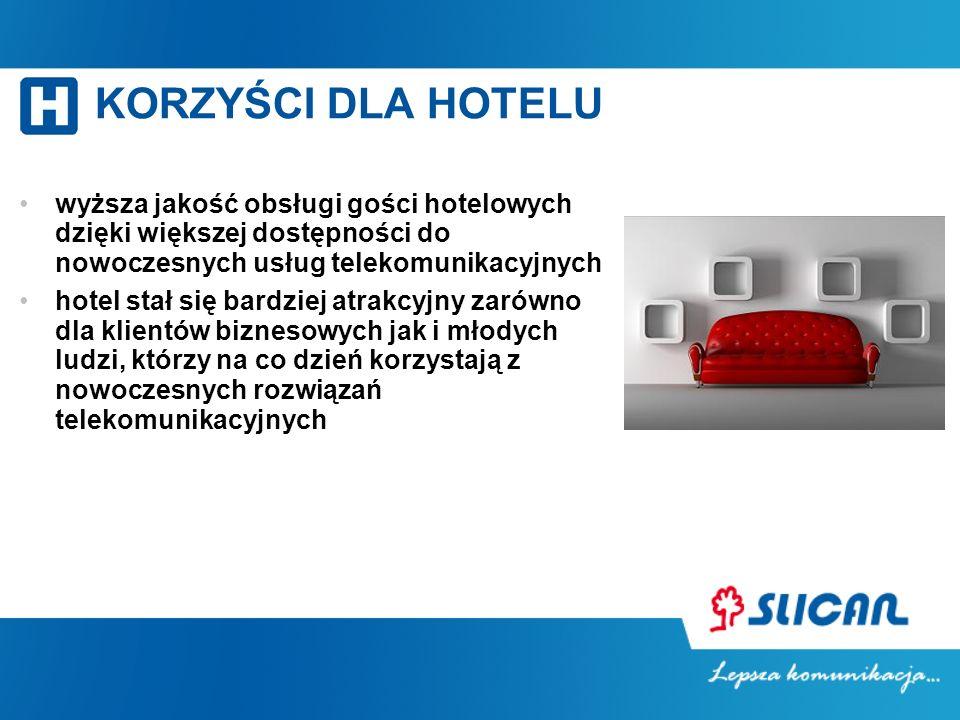 KORZYŚCI DLA HOTELU wyższa jakość obsługi gości hotelowych dzięki większej dostępności do nowoczesnych usług telekomunikacyjnych hotel stał się bardzi