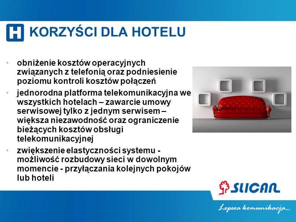KORZYŚCI DLA HOTELU obniżenie kosztów operacyjnych związanych z telefonią oraz podniesienie poziomu kontroli kosztów połączeń jednorodna platforma tel