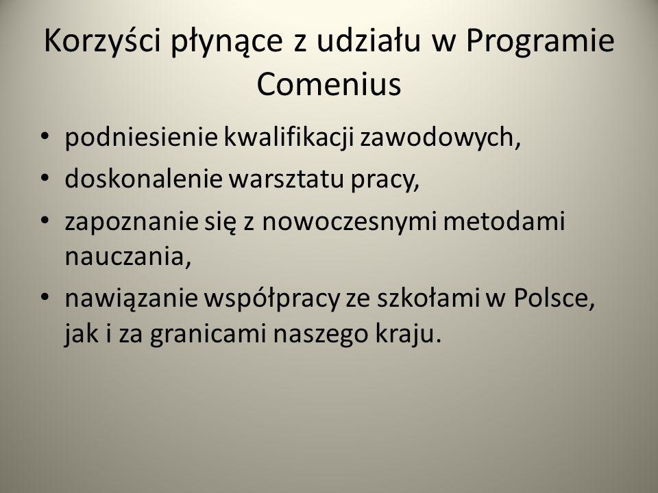 Korzyści płynące z udziału w Programie Comenius podniesienie kwalifikacji zawodowych, doskonalenie warsztatu pracy, zapoznanie się z nowoczesnymi meto
