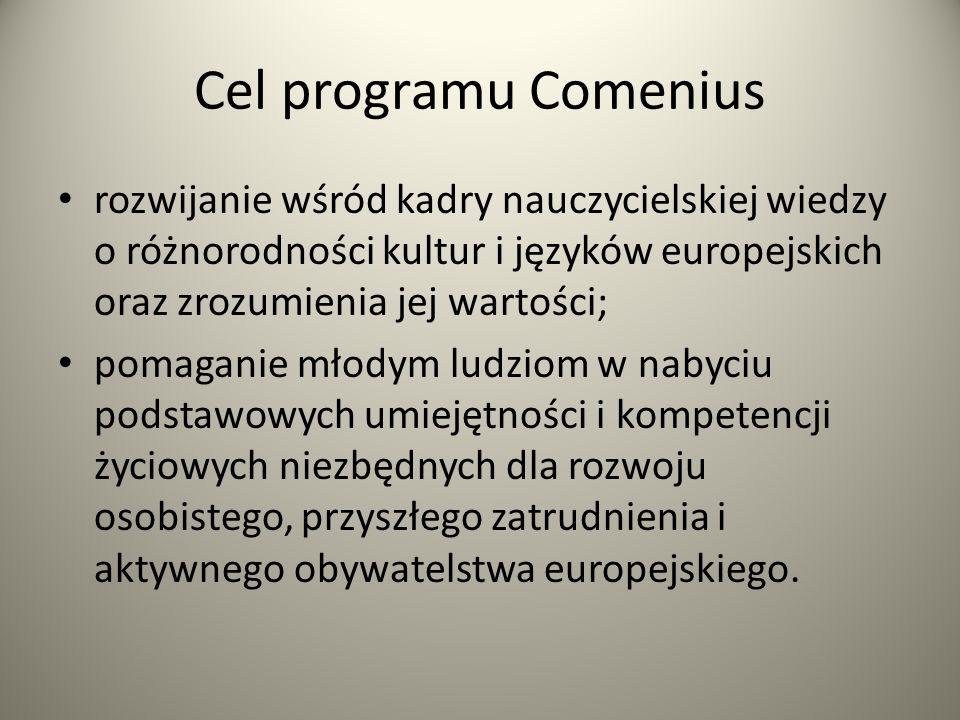 Cel programu Comenius rozwijanie wśród kadry nauczycielskiej wiedzy o różnorodności kultur i języków europejskich oraz zrozumienia jej wartości; pomag