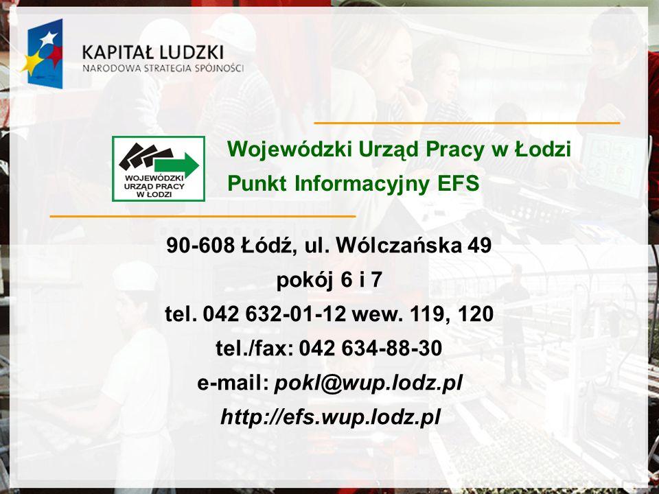 Wojewódzki Urząd Pracy w Łodzi Punkt Informacyjny EFS 90-608 Łódź, ul.