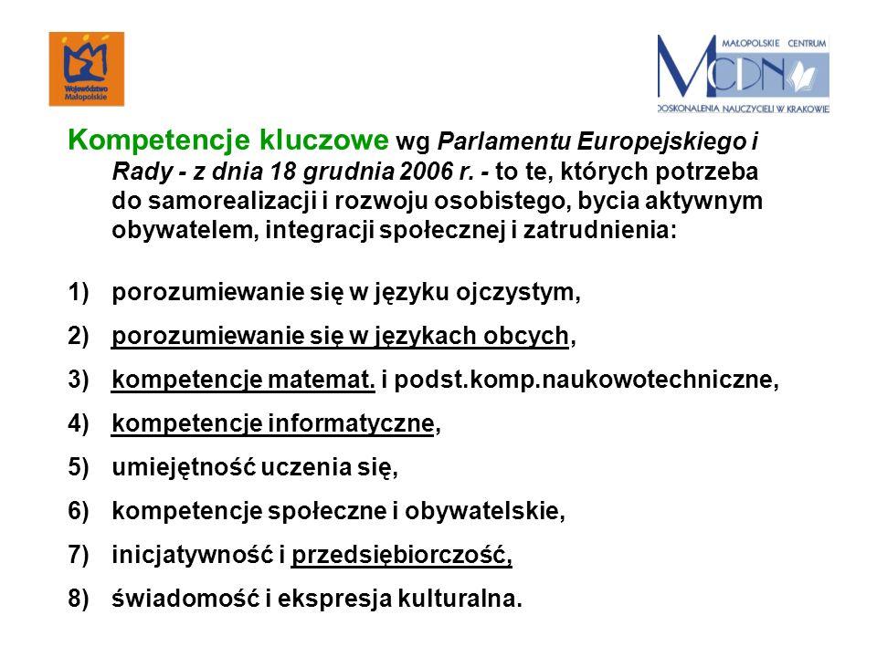 Kompetencje kluczowe wg Parlamentu Europejskiego i Rady - z dnia 18 grudnia 2006 r.