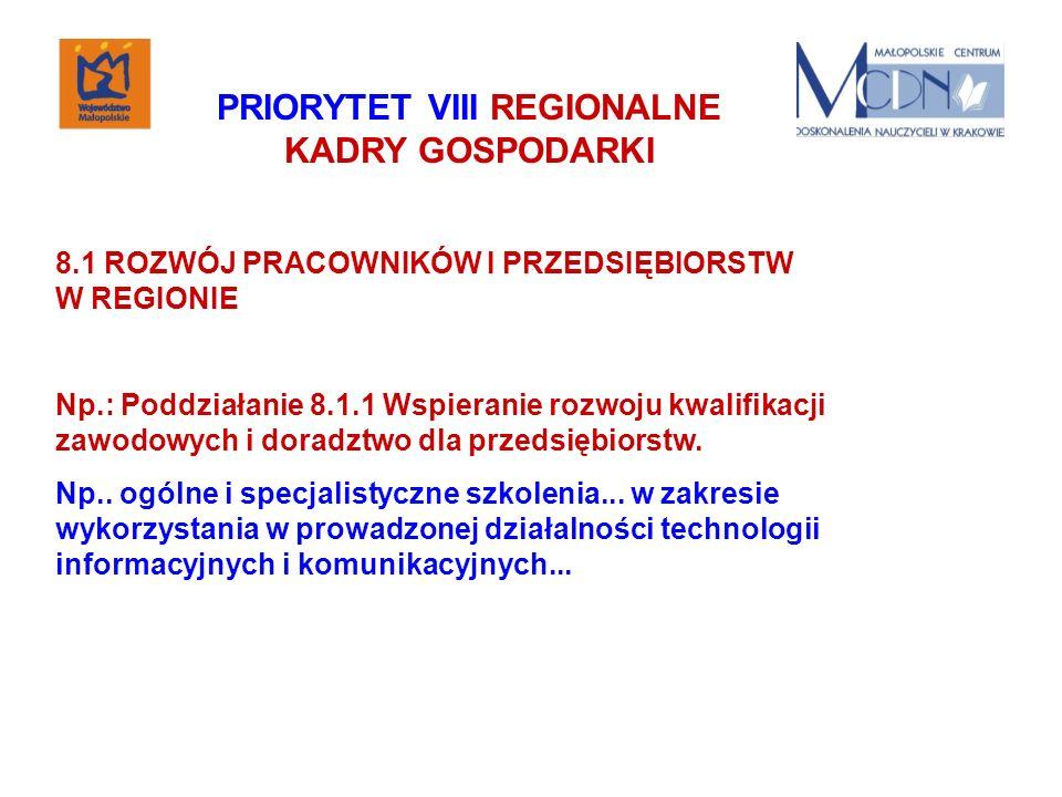 PRIORYTET VIII REGIONALNE KADRY GOSPODARKI 8.1 ROZWÓJ PRACOWNIKÓW I PRZEDSIĘBIORSTW W REGIONIE Np.: Poddziałanie 8.1.1 Wspieranie rozwoju kwalifikacji zawodowych i doradztwo dla przedsiębiorstw.