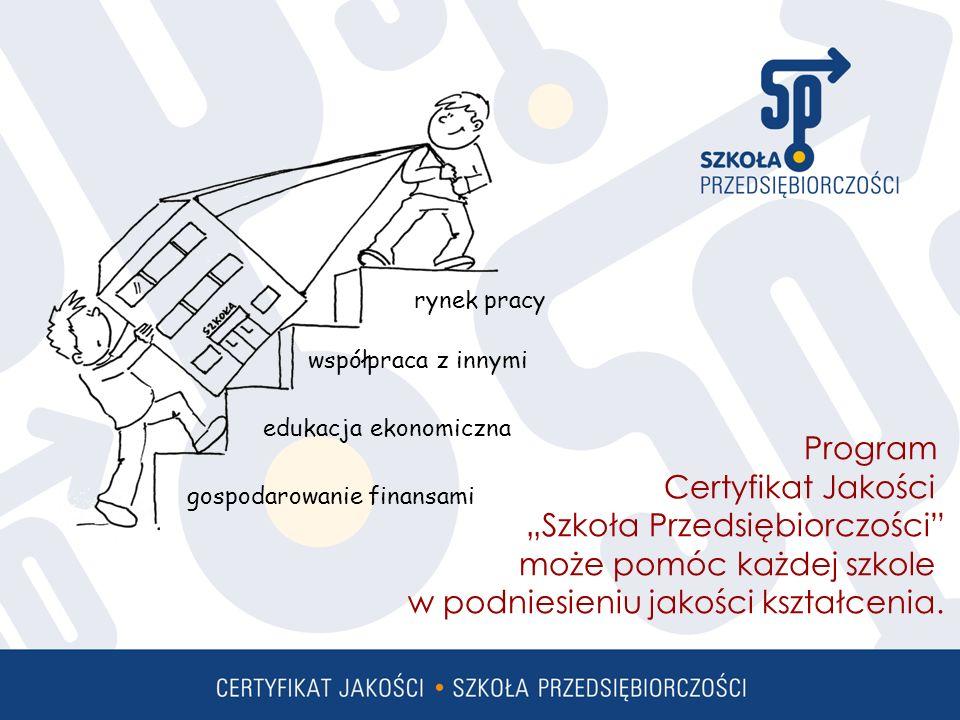 rynek pracy współpraca z innymi edukacja ekonomiczna gospodarowanie finansami Program Certyfikat Jakości Szkoła Przedsiębiorczości może pomóc każdej szkole w podniesieniu jakości kształcenia.
