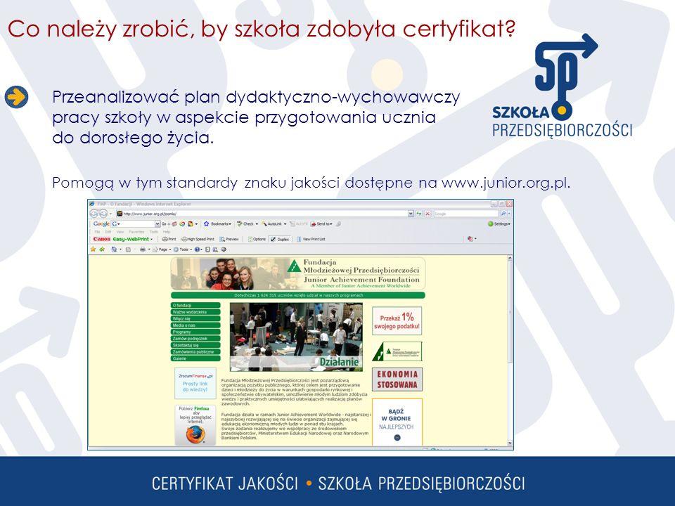 Co należy zrobić by szkoła zdobyła certyfikat.