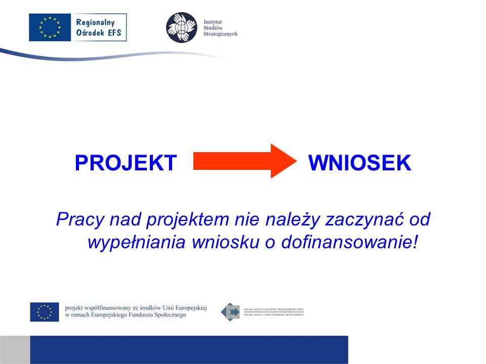 PROJEKT WNIOSEK Pracy nad projektem nie należy zaczynać od wypełniania wniosku o dofinansowanie!