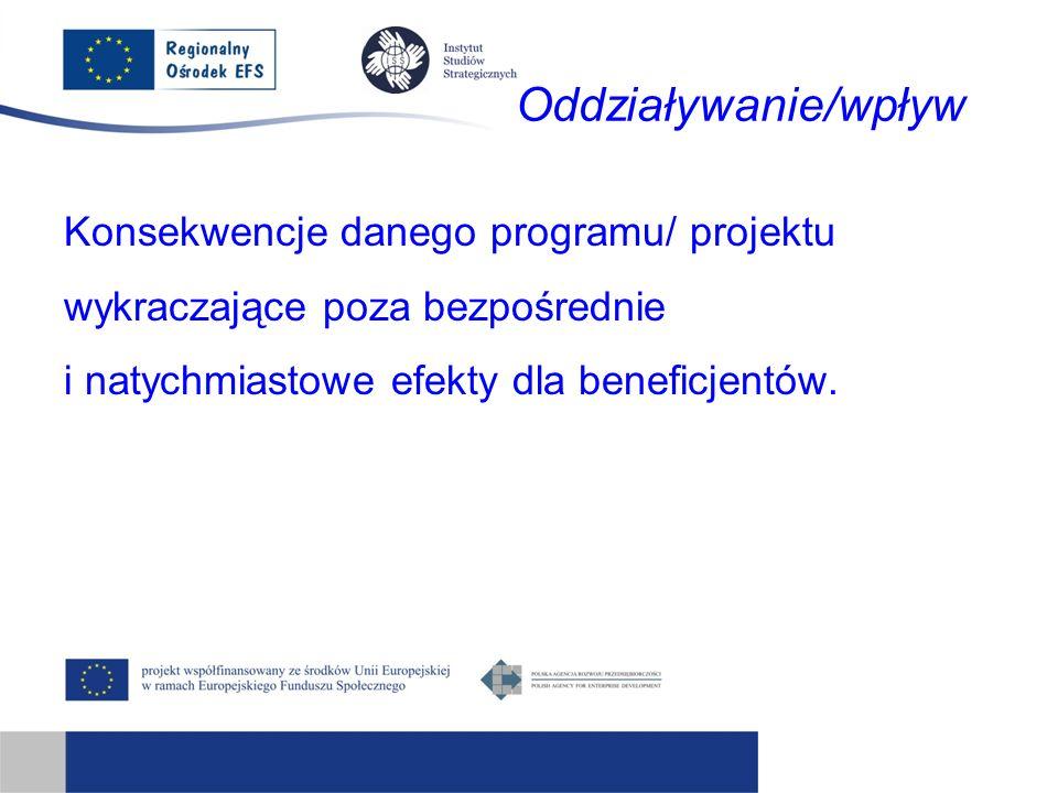 Oddziaływanie/wpływ Konsekwencje danego programu/ projektu wykraczające poza bezpośrednie i natychmiastowe efekty dla beneficjentów.