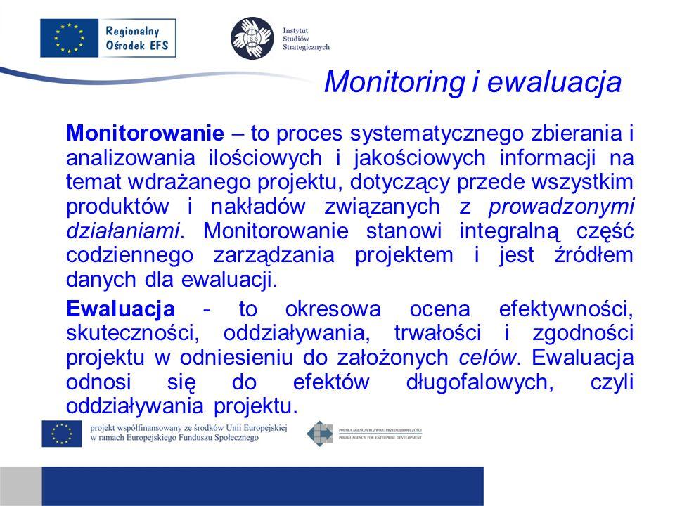 Monitoring i ewaluacja Monitorowanie – to proces systematycznego zbierania i analizowania ilościowych i jakościowych informacji na temat wdrażanego projektu, dotyczący przede wszystkim produktów i nakładów związanych z prowadzonymi działaniami.