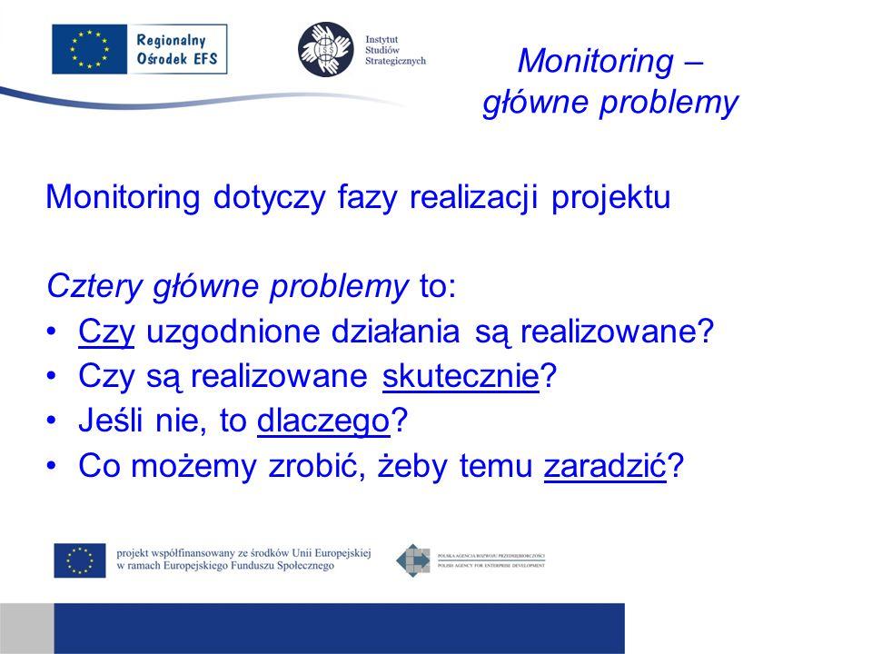 Monitoring – główne problemy Monitoring dotyczy fazy realizacji projektu Cztery główne problemy to: Czy uzgodnione działania są realizowane.