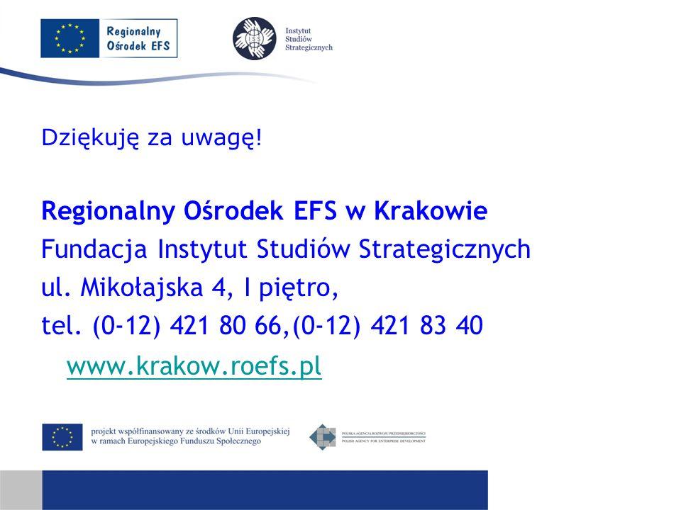 Dziękuję za uwagę. Regionalny Ośrodek EFS w Krakowie Fundacja Instytut Studiów Strategicznych ul.