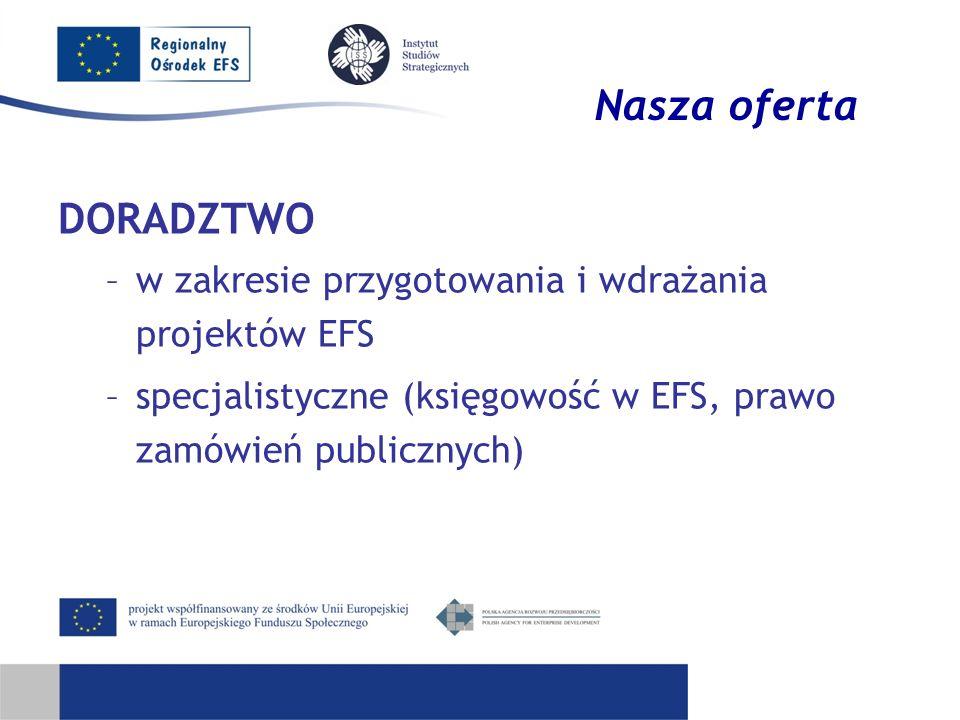 Nasza oferta DORADZTWO –w zakresie przygotowania i wdrażania projektów EFS –specjalistyczne (księgowość w EFS, prawo zamówień publicznych)