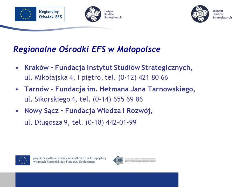 Regionalne Ośrodki EFS w Małopolsce Kraków – Fundacja Instytut Studiów Strategicznych, ul.
