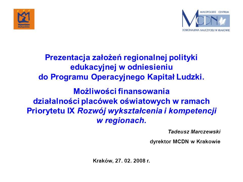 Prezentacja założeń regionalnej polityki edukacyjnej w odniesieniu do Programu Operacyjnego Kapitał Ludzki. Możliwości finansowania działalności placó