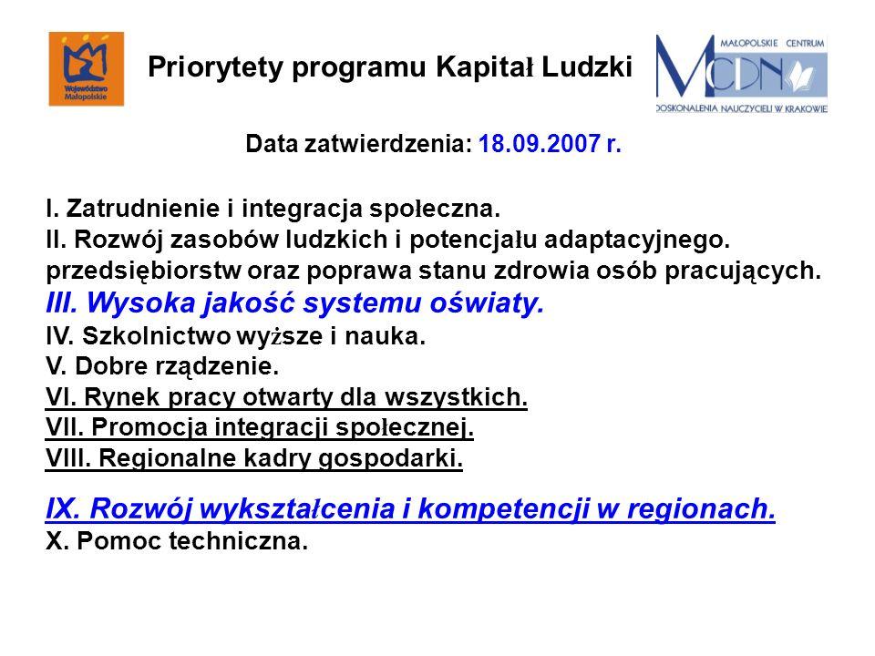Data zatwierdzenia: 18.09.2007 r. I. Zatrudnienie i integracja spo ł eczna. II. Rozwój zasobów ludzkich i potencja ł u adaptacyjnego. przedsiębiorstw
