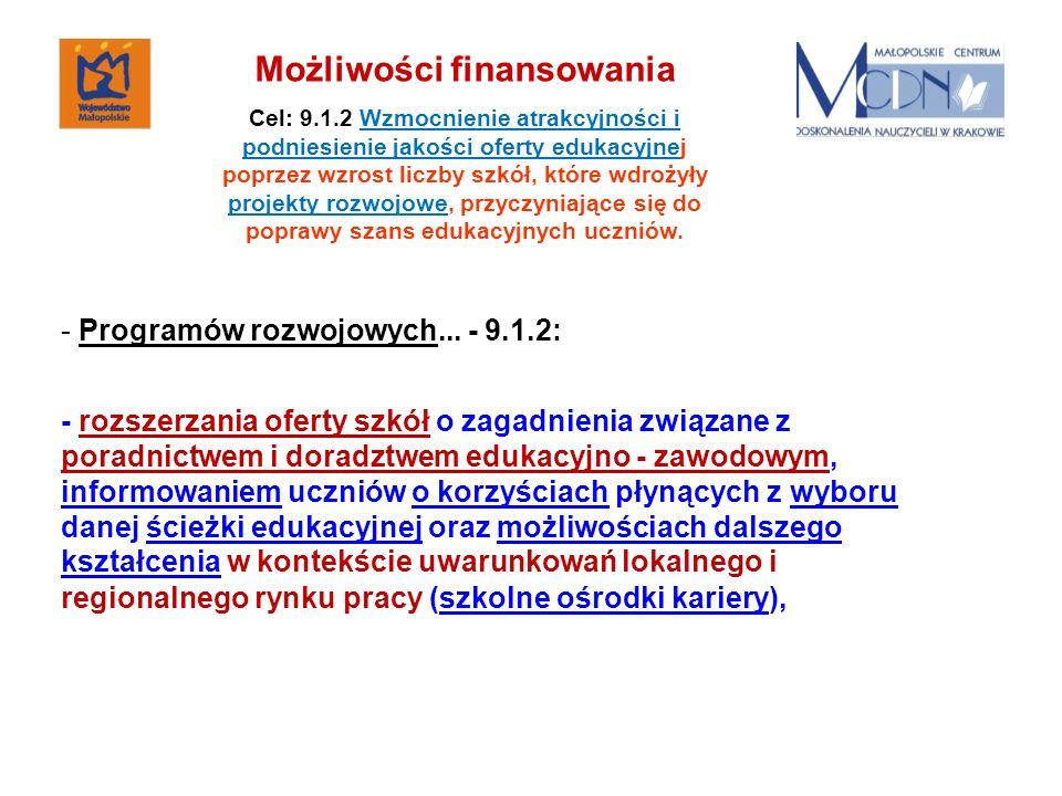 - Programów rozwojowych... - 9.1.2: - rozszerzania oferty szkół o zagadnienia związane z poradnictwem i doradztwem edukacyjno - zawodowym, informowani