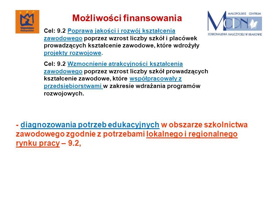 - diagnozowania potrzeb edukacyjnych w obszarze szkolnictwa zawodowego zgodnie z potrzebami lokalnego i regionalnego rynku pracy – 9.2, Możliwości fin