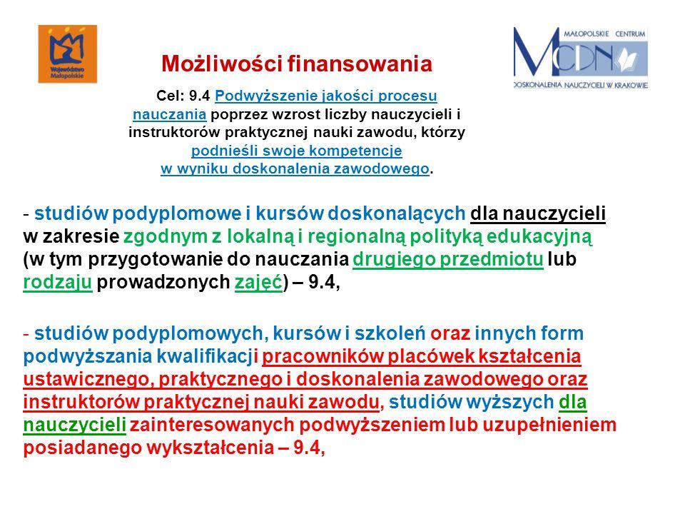 - studiów podyplomowe i kursów doskonalących dla nauczycieli w zakresie zgodnym z lokalną i regionalną polityką edukacyjną (w tym przygotowanie do nau