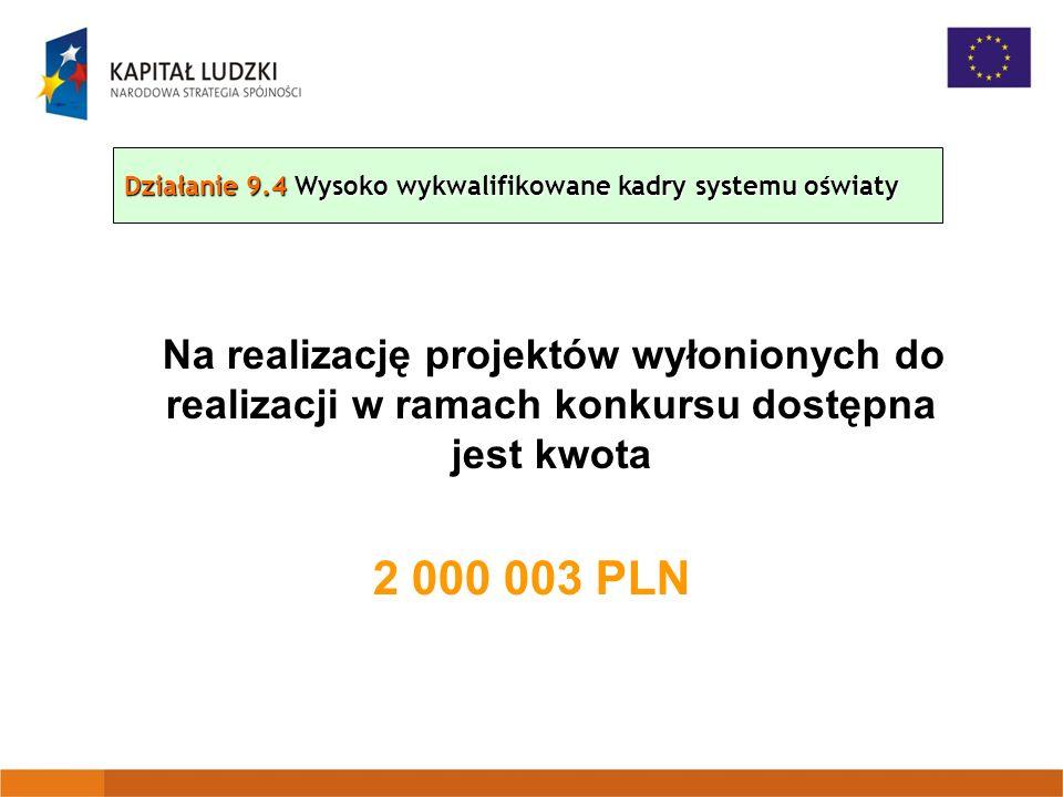 Na realizację projektów wyłonionych do realizacji w ramach konkursu dostępna jest kwota 2 000 003 PLN Działanie 9.4 Wysoko wykwalifikowane kadry systemu oświaty
