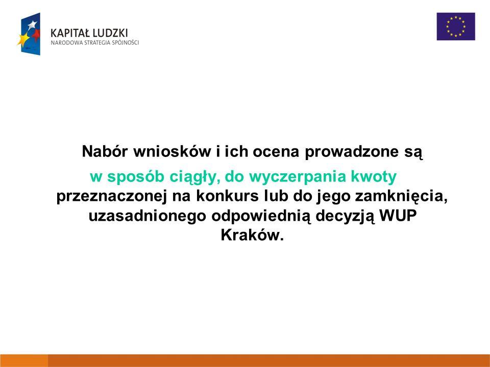 Nabór wniosków i ich ocena prowadzone są w sposób ciągły, do wyczerpania kwoty przeznaczonej na konkurs lub do jego zamknięcia, uzasadnionego odpowiednią decyzją WUP Kraków.